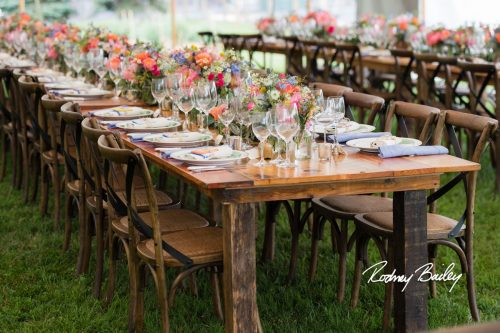 Farm Table Flowers and wine glasses
