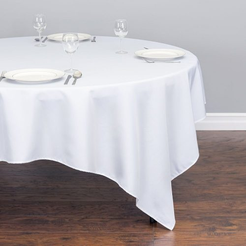 85in square table linen white