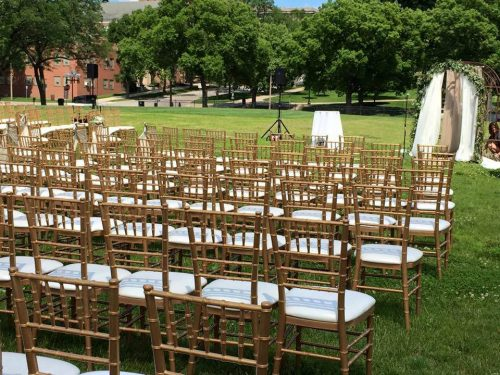 White and Gold Chiavari Chair Rental Outdoor Example