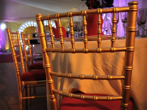 Red Padding and Gold Chiavari Chair Rental