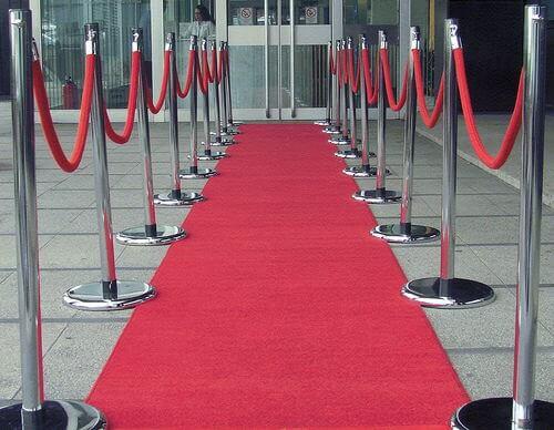 Velvet Red Rope Chrome Stanchions Rental
