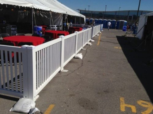 White Fencing Rental Parking Lot