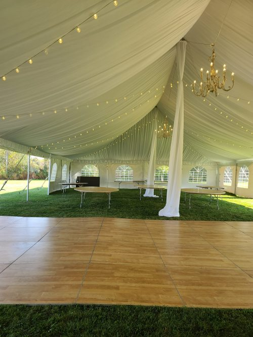 Tent with Liner Bistro and Gold Chandelier