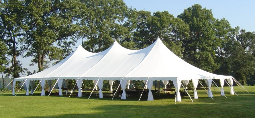 40x80 pole tent with leg drapes