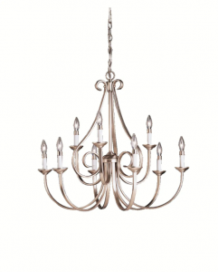 2 Brushed Nickel 9 Arm Chandelier