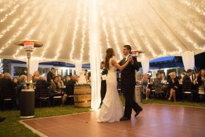 couple dancing at their wedding rental