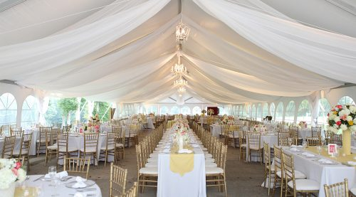 large wedding tent with swags