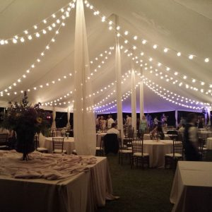 bistro lighting inside tent
