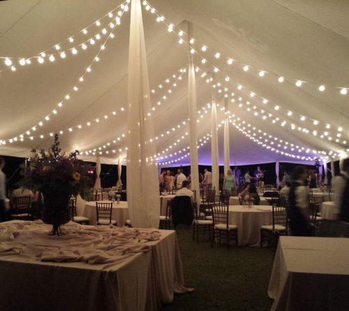 bistro lighting inside tent