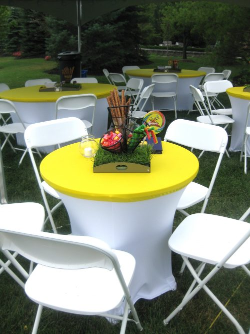Cocktail Table Yellow White Spandex