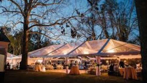 40 x 120 Clear Top Frame Tent Rental Drapes Wedding Event