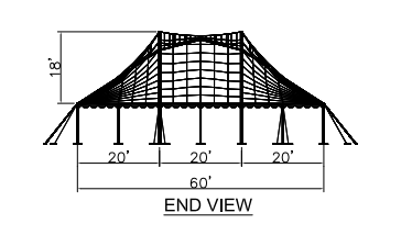 60x60 Wide Pole Tent Plan End