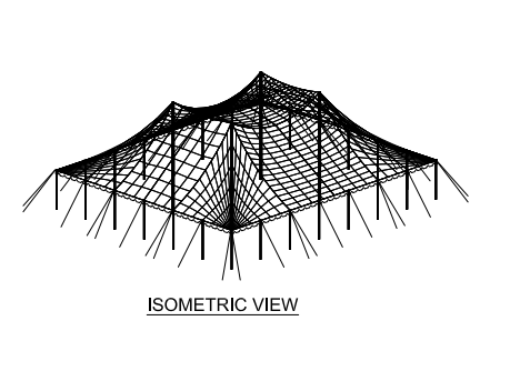 60x60 Wide Pole Tent Plan Isometric
