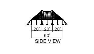 60x60 Wide Pole Tent Side