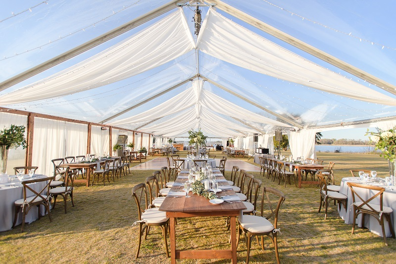 Clear Top Tent With Drapery Rental 40 x 120 Wedding