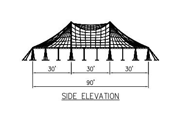 100x90 wide Pole Tent Plan Side