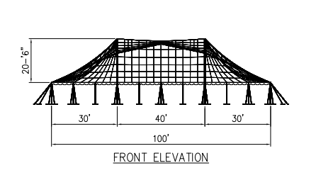 100x90 wide Pole Tent Plan Front