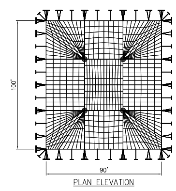 100x90 wide Pole Tent Plan Above