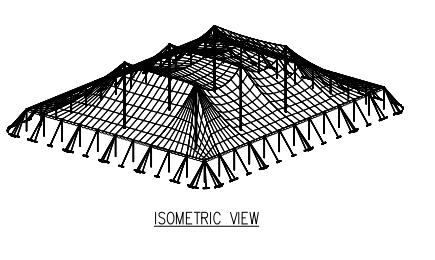 100x120 Pole Tent Plan Isometric