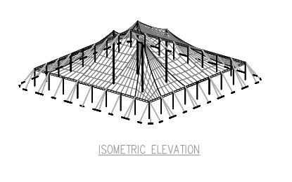 80x90 Pole Tent Plan Isometric