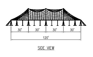 100x120 Pole Tent Plan Side