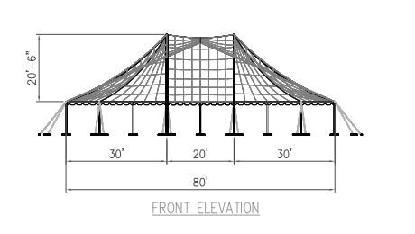 80x90 Pole Tent Plan Front