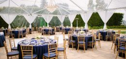 Clear top Tent with Empire Chandelier